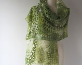 Felted scarf  lace shawl White Green scarf  Felt  lace stole women scarf by Galafilc