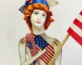 Handmade Large Santos Cage Doll Mixed Media Art, Fourth of July, MY LADY of The U.S.A.