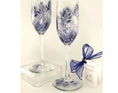 Hand-Painted 25th Anniversary Champagne Glasses - Midnight Navy Blue and Silver Roses, Set of 4 - Personalized Wedding Anniversary Flutes