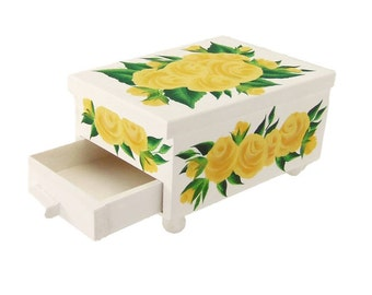 Hand-Painted Jewelry Box, White with Yellow Roses Mirror, Drawer FREE SHIPPING - Hand Painted Jewelry Box HandPainted Jewellry Keepsake Box