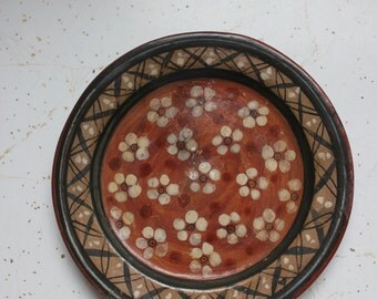 vintage. Artist One of a Kind Pottery Small Plate // Hanging Art Piece