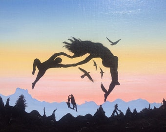 Original oil painting, sunset dancing figures in silhouette, double image surreal art, anthropomorphic mountain landscape