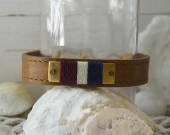 Preppy Leather Bracelet - Navy, Oyster & Burgundy