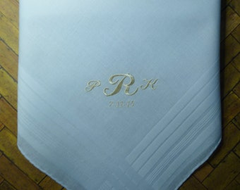 Man's Monogram Hankerchief with Design and Date-Embroidered-Personalized-Wedding-Groom-Bestman-Groomsmen