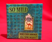 "mild - 3"" x 3"" original artwork  painting and WWII era collage"