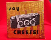 "say cheese - 3"" x 3"" original artwork  painting w vintage collage"