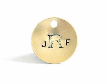 "Custom Monogrammed Bridesmaid Bouquet Charm, Boutonniere Charm Hand Stamped Brass or Bronze 7/8"" Personalized Metal Tag"