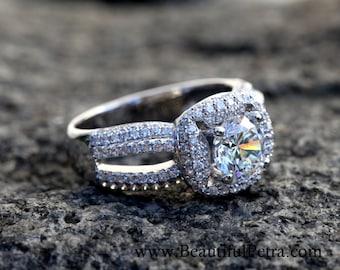 Diamond Engagement Ring -14K white gold -  chunky - 1.40 carat Round - Halo - Pave - Multi row - Brides - bph016