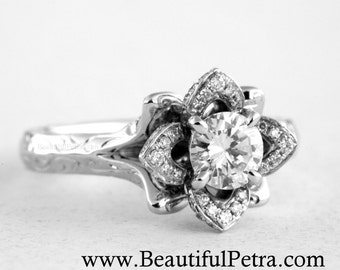 Engraved Unique Flower Rose Lotus Blooming Diamond Engagement or Right Hand Ring SETTING Semi Mount - 1.00 carat - Fl09