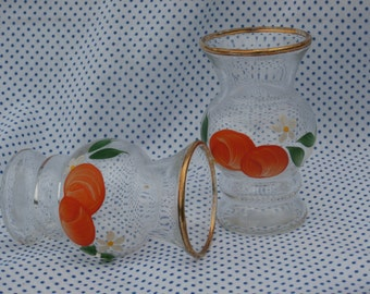 Pair of Vintage Mini Vases with Handpainted Oranges and Blossoms