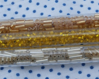 3 Tubes of Vintage Seed and Bugle Beads, Silver, Gold, and Yellow