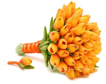 Ready to Ship - Sunset Orange Real Touch Tulips Bridal Bouquet Groom's Boutonniere Tulip Wedding Flower Package Autumn Fall Wedding Flowers