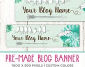 Pre-made Blog Banner Header Bird Theme Any Color and Size