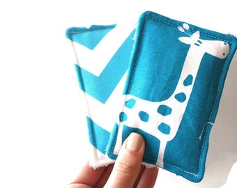 Reusable Sponges or UnSponges Heavy Duty Set of 2 Terry Cloth and Cotton - Giraffe Turquoise