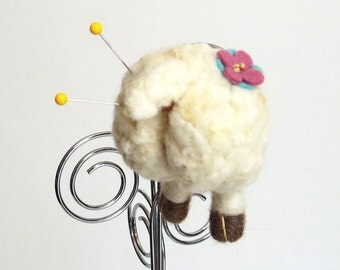 Sheep pincushion, felt animal butt magnet : needle felted lamb wool pin cushion with a pink and blue flower, funny Christmas gift