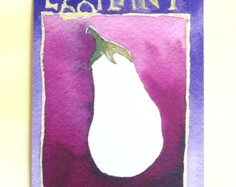 Three Eggplant Postcards, gardening quotation on back, 4 in x 6 in, silky smooth card stock, foodie gift