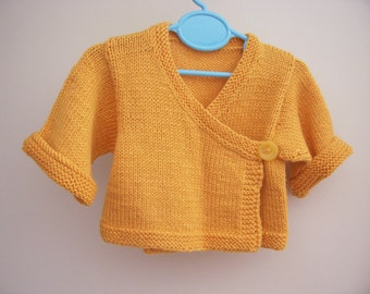 Hand Knitted Baby Kimono Baby Sweater Hand knit Baby Cardigan Jacket Ready to ship 6 -12 Months