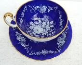 Vintage Aynsley Cobalt Blue Floral Tea Cup and Saucer