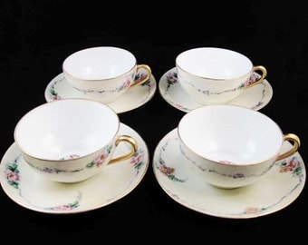 Antique Noritake Nippon Tea Cups & Saucers (8 pcs)Circa 1911 Pink Flowers Gold