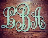 Wood Letter monogram Set measures 18 inches 24 inches and 18 inches