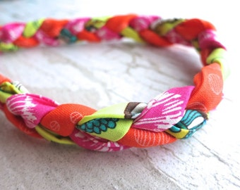 Braided Fabric Headband for Baby and Girls - Shabby Chic Bohemian Hair Band - Happy Citrus Brights - Tangerine Orange Aqua Blue Lemon Lime