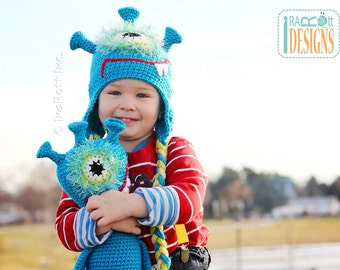 PATTERN Plutonian Paul Alien Monster Hat and Toy Set Crochet PDF Pattern