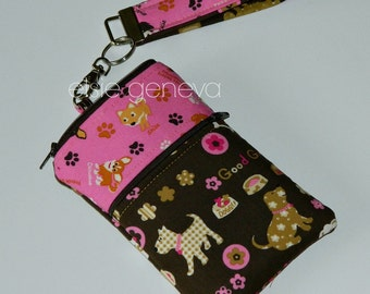 Dog Phone Case Brown Pink Pomeranian iPhone 6 Plus Wristlet Zipper Top Closure Optional Shoulder Strap Cross Body