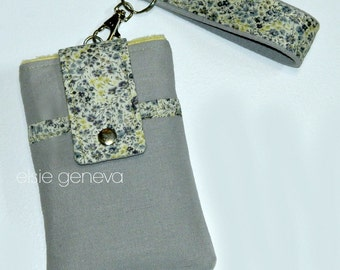 Grey & Yellow Phone Case Wristlet with Back Zipper Pocket - iPhone 4 5 6 Plus Note Large - Pink Purple Paisley - Optional Shoulder Strap