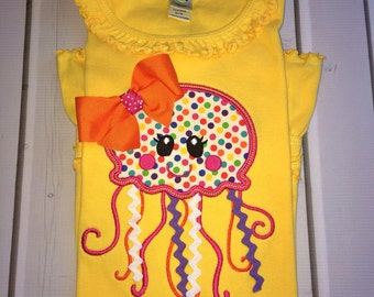 Girls Jellyfish Shirt, Custom Summer Shirt, Jellyfish Design, Custom Summer Top, Summertime Shirt, Jellyfish Shirt