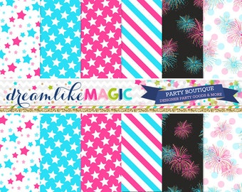 Pink and Blue Star Fireworks- Digital Paper Pack for Personal or Commercial Use