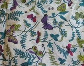 """Gorgeous 36"""" Wide - Teal - Purple - Red - Pink Butterfly and Floral Print on Cream Background"""