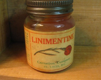"Liniment - Vintage Jar of ""Linimentine""  Clear Glass - Metal Screw Lid -  Great Condition 1930s"