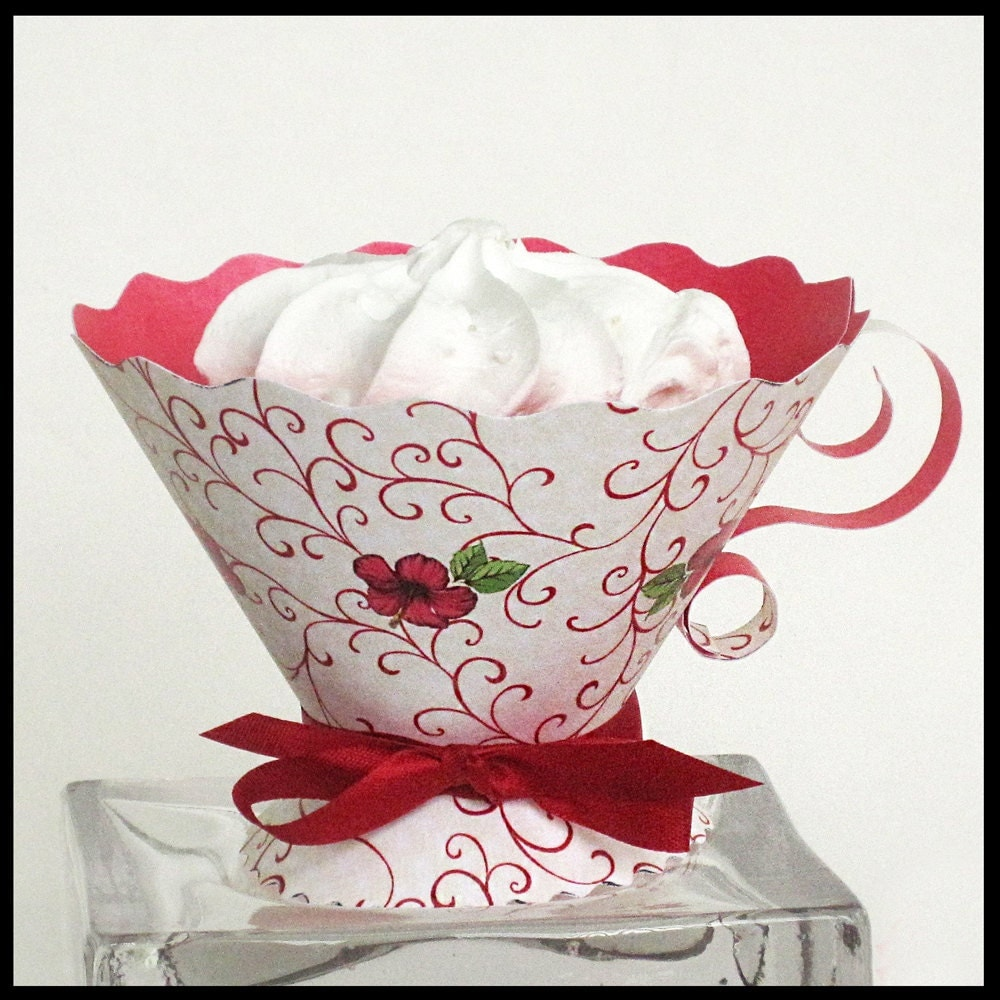 Teacup party favors red swirls tea party high tea bridal for Teacup party favors