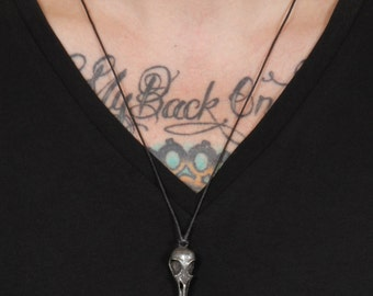Raven skull  pendant flat black Metal on easy to adjust cord made here in NYC Blue Bayer Design