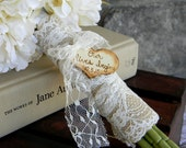 Burlap Lace Bouquet Wrap Shabby Chic Rustic Country Woodland Bride's Bouquet Wrap With Lace & Wood Heart Charm