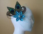 Peacock Wedding Fascinator, Turquoise, Teal Blue Bridal Head Piece w/ Turquoise Birdcage Veil, Something Blue, Fairy Wedding
