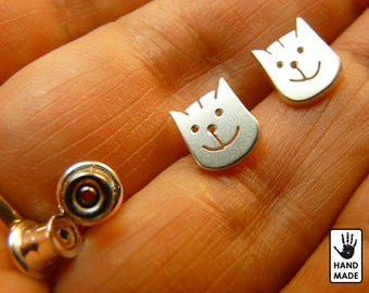 Crazy Cat Handmade Sterling Silver .925 Earrings in a gift box