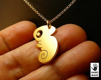 Tiny Cute Chameleon Handmade Goldplated Sterling Silver .925 Necklace in a gift box