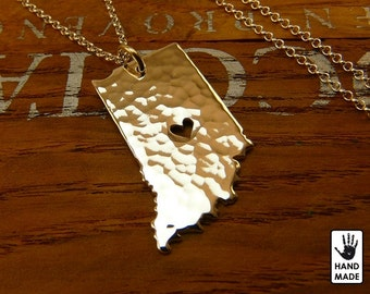 Indiana Hammered Fine Silver .999 Necklace - Handmade - Custom Heart