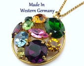 Vintage Pendant Necklace Made In West Germany With Multi Colored Rhinestones