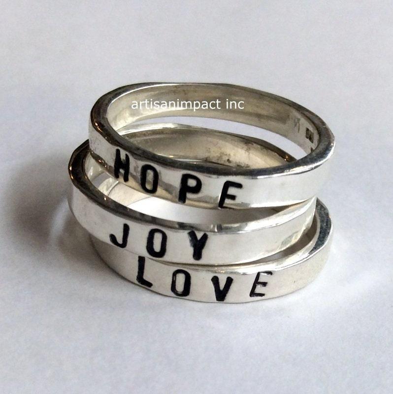 silver stacking rings name ring promise ring