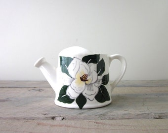 Hand Painted Creamer with White Magnolia  Flower Watering Can Shape=p