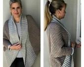 Crochet Shrug Pattern - Oversized Sweater Cardigan Crochet Pattern in One Size No.922 Digital Pattern Instant Download