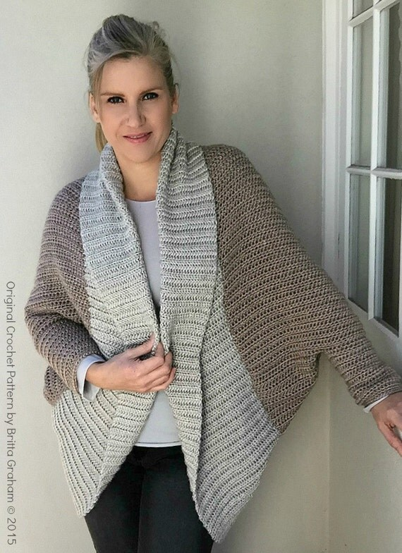 Knitting Patterns For Shrugs With Shawl Collar : Oversized Shrug Crochet Pattern with Ribbed Shawl Collar - Sweater Crochet Pa...