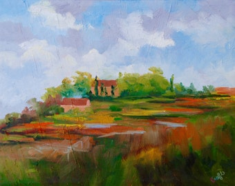11 x 14 Modern Impressionist Original Italian Tuscan Landscape Oil Painting by Rebecca Croft