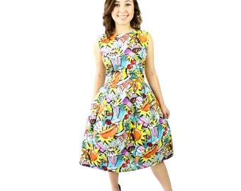 Pop Art Pleated Dress