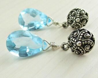 SALE! Sky Blue Gemstone Stud Earrings, Sky Blue Quartz Sterling Silver Post Earrings, Bridal Earrings, Light Blue Gemstone Dangle Earrings