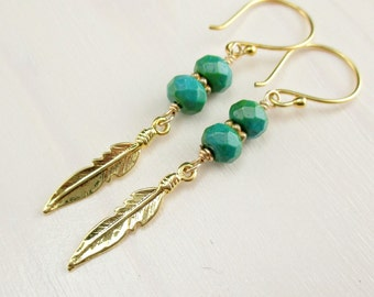 Gold Feather Earrings Green Turquoise Gemstone Vermeil Feather Gold Feather Charm Dangle Turquoise Dangle Boho Tribal Earrings Gold Jewelry