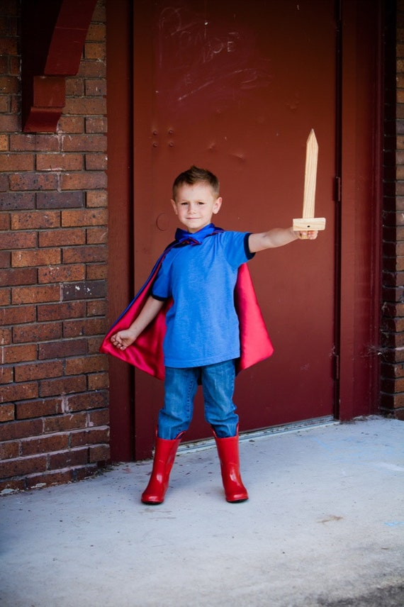 Superhero Cape Reversible Colors Blue and Red , 2T - 7T, color options dress-up king ships fast worldwide