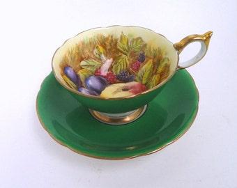 Vintage Aynsley Teacup and Saucer Set, Artist Signed D. Jones Green with Fruit  //Vintage Bone China Cup and Saucer, England